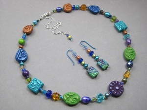 textured polymer clay beaded necklace