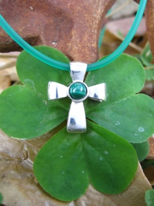 Sterling Silver Gift Of God Ribbon Cross With Malachite
