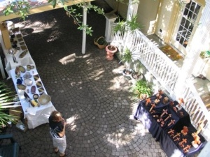 Looking Down To Shady Courtyard