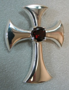 Sterling Cross With Garnet