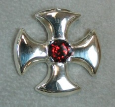 sterling canterbury cross with garnet