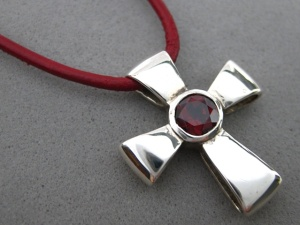Sterling Silver Gift Of God Cross W/ Garnet on Leather Cord