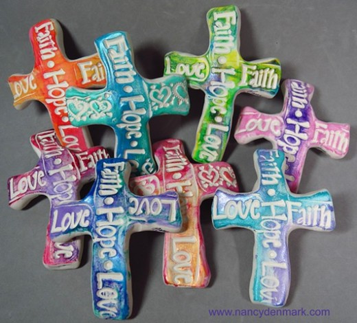 Faith Hope Love Hand Crosses by Nancy Denmark